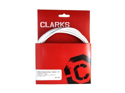 Clarks Universal S/S Front & Rear Brake Cable Kit W/P2 White Outer Casing